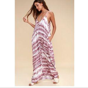 Lulu's- Yours Tule Mauve Tie Dye Maxi Dress